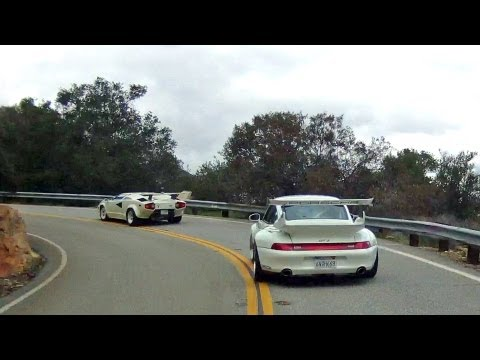 Following a Lamborghini Countach and Porsche 993 GT2 up Mulholland