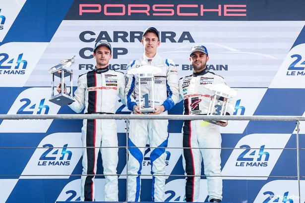 Porsche-Carrera-Cup-France-Great-Britain-24-Heures-Mans-2014-Podium-A