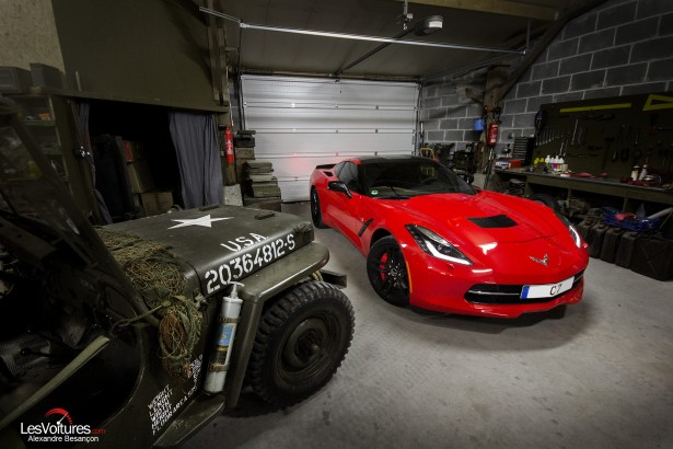 essai-test-drive-chevrolet-chevy-c7-stingray-normandy-2014-Spirit-of-1944-jeep