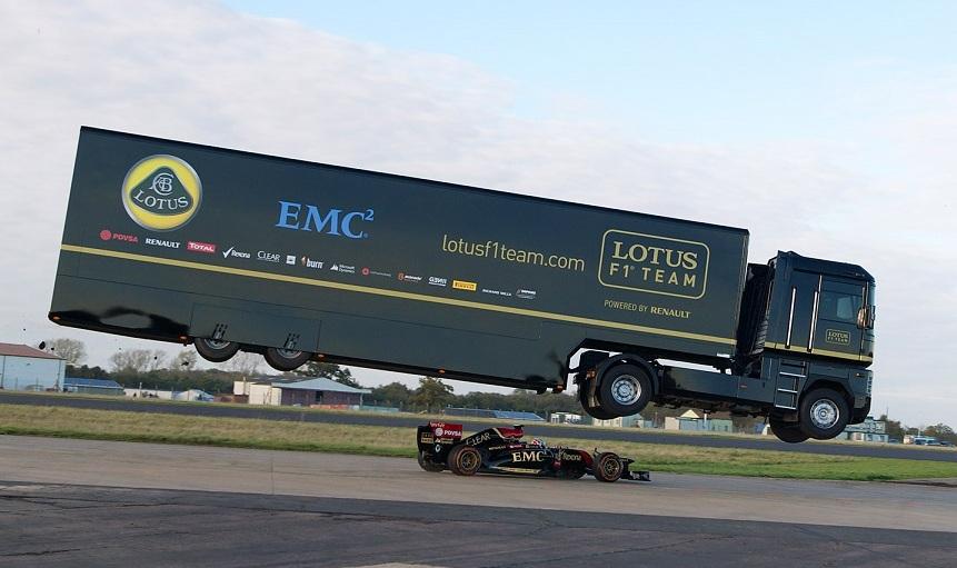 Vidéo : un camion s'envole au-dessus d'une F1 !