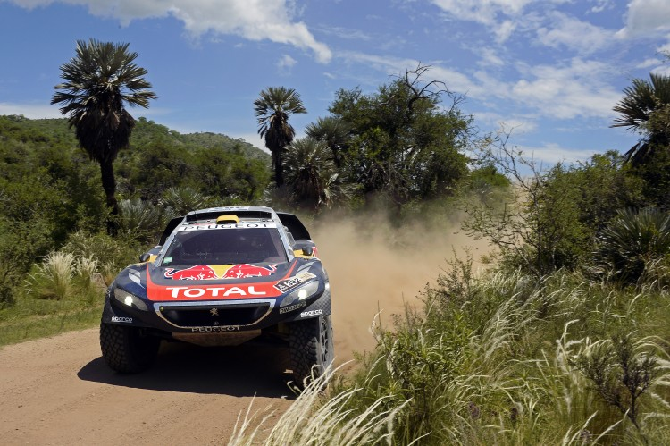 Stephane Peterhansel (FRA) of Team Peugeot-Total races during stage 12 of Rally Dakar 2016 from San Juan to Villa Carlos Paz, Argentina on January 15th, 2016