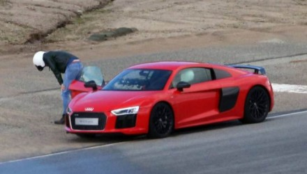 Picture Shows: Chris Evans  January 07, 2016    * No web / online / digital permitted before Midnight GMT 17th jan 2016 **    * Fee After Midnight £400 For Set *    More problems on the set of 'Top Gear' as new host Chris Evans is spotted retching at the side of the Mazda Raceway track while filming an episode of the hit BBC Series in Moneterey, California.     Evans, taking over from Jeremy Clarkson, was spotted being driven around the track by new german co-host Sabine Schmitz before having to stop.     It has been reported that Chris is having difficulty driving and talking to the camera at the same time, now it looks like he can't even reach Top Gear without throwing up.     * No web / online / digital permitted before Midnight GMT 17th jan 2016 **    * Fee After Midnight £400 For Set *    Exclusive All Rounder  UK RIGHTS ONLY  Pictures by : FameFlynet UK © 2016  Tel : +44 (0)20 3551 5049  Email : info@fameflynet.uk.com