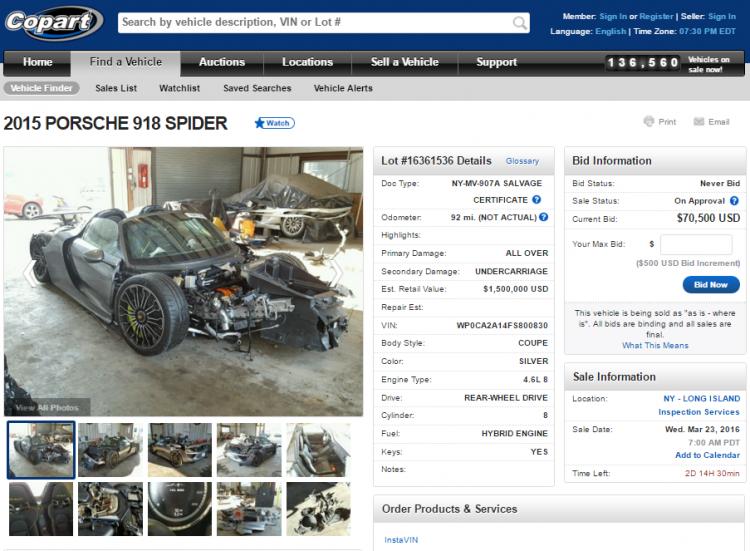 porshe-918-spyder-auction-enchere-detruite-a-vendre-copart