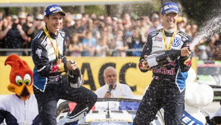 Sebastien Ogier (FRA), Julien Ingrassia celebrate the podium during FIA World Rally Championship 2016 Spain in Salou , Spain  on 16 October 2016