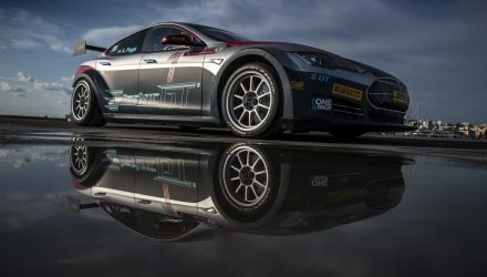A fully electric Tesla Model S P85+ with 416 HP and 600 Nm of Torch is seen in the race version for the new Electric GT World Series during the unvieling event in Ibiza, Spain on September 27, 2016. The organisers of this zero-emission-series announced seven stops in Europe and three in North and South America for 2017 with ten teams and twenty drivers.