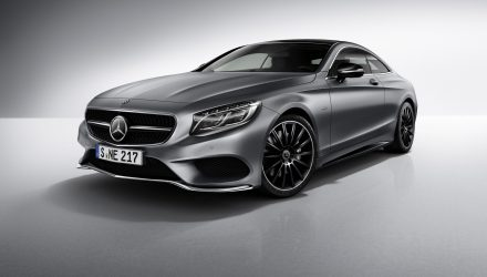 Mercedes-Benz S-Klasse Coupé Night Edition, designo selenitgrau magno, AMG Leichtmetallräder im Vielspeichen-Design, AMG Styling. ;Mercedes-Benz S-Class Coupé Night Edition, designo selenite grey magno, AMG multi-spoke alloy wheels, AMG bodystyling.;