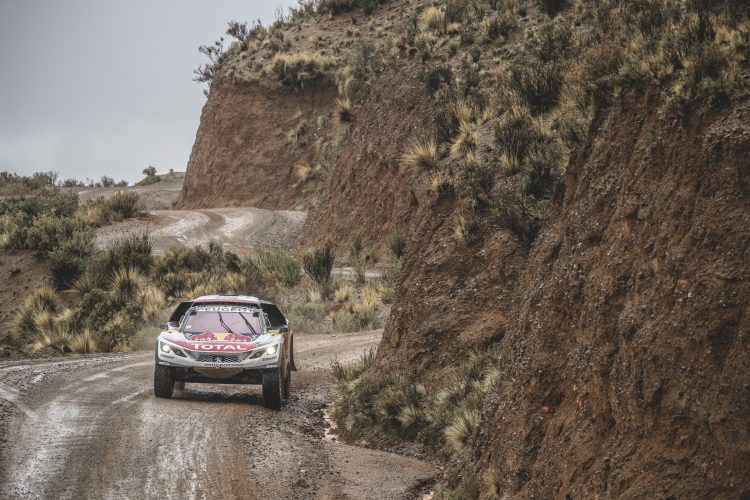 Cyril Despres (FRA) of Team Peugeot TOTAL races during stage 5 of Rally Dakar 2017 from Tupiza to Oruro, Bolivia on January 6, 2017.