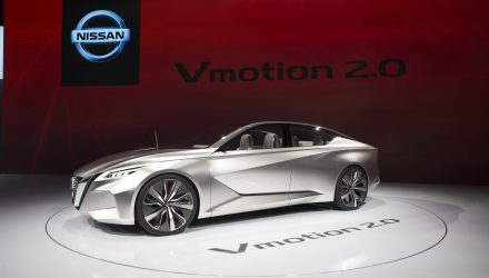 DETROIT (Jan. 10, 2017) – Vmotion 2.0, a concept vehicle showcasing Nissan's new sedan design direction, is the winner of the 2017 EyesOn Design Award for Best Concept Vehicle. The concept vehicle also received the award for Best Innovative Use of Color, Graphics and Materials. The announcement was made Tuesday at the 2017 North American International Auto Show (NAIAS) EyesOn Design Awards ceremony, just a day after the vehicle's global debut.