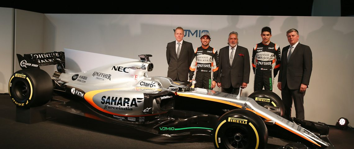 (L to R): Andrew Green (GBR) Sahara Force India F1 Team Technical Director; Sergio Perez (MEX) Sahara Force India F1 VJM10; Dr. Vijay Mallya (IND) Sahara Force India F1 Team Owner; Esteban Ocon (FRA) Sahara Force India F1 Team; Otmar Szafnauer (USA) Sahara Force India F1 Chief Operating Officer, and the Sahara Force India F1 VJM10. Sahara Force India F1 VJM10 Launch, Wednesday 22nd February 2017. Silverstone, England.