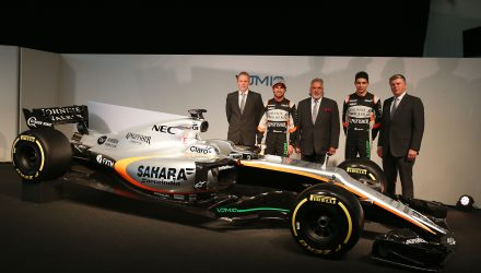(L to R): Andrew Green (GBR) Sahara Force India F1 Team Technical Director; Sergio Perez (MEX) Sahara Force India F1 VJM10; Dr. Vijay Mallya (IND) Sahara Force India F1 Team Owner; Esteban Ocon (FRA) Sahara Force India F1 Team; Otmar Szafnauer (USA) Sahara Force India F1 Chief Operating Officer, and the Sahara Force India F1 VJM10. Sahara Force India F1 VJM10 Launch, Wednesday 22nd February 2017. Silverstone, England.
