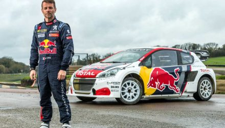 Sebastien Loeb poses for a portrait during Red Bull Team Peugeot Hansen photoshoot in Lydden Hill Circuit, UK, on March 20, 2017 // Olaf Pignataro/Red Bull Content Pool // P-20170330-00024 // Usage for editorial use only // Please go to www.redbullcontentpool.com for further information. //