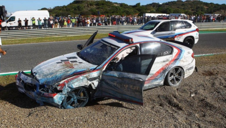 Bmw-m5-motogp-crash-jerez