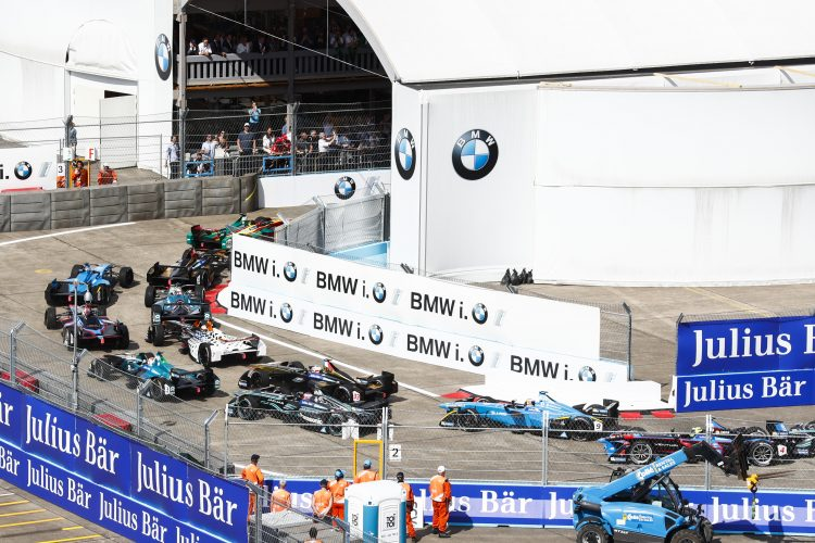 2016/2017 FIA Formula E Championship. Round 7 - Berlin ePrix, Tempelhof Airport, Berlin, Germany. Saturday 10 June 2017. Lucas Di Grassi (BRA), ABT Schaeffler Audi Sport, Spark-Abt Sportsline, ABT Schaeffler FE02, leads into the tunnel at the start of the race. Photo: Sam Bloxham/LAT/Formula E ref: Digital Image _W6I8946