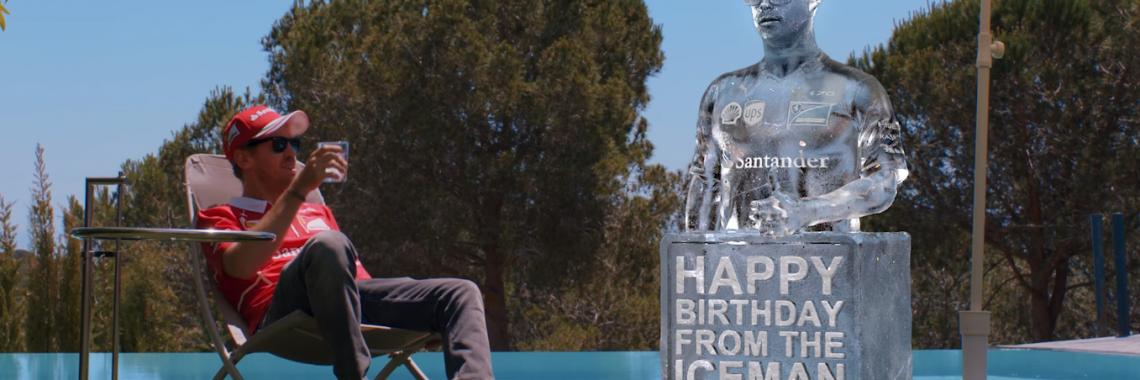 Vidéo : Vettel reçoit un cadeau glacé pour ses 30 ans !