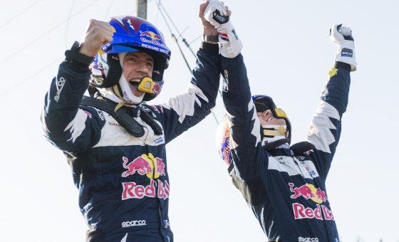 Sebastien Ogier  (FRA) , Julien Ingrassia (FRA) celebrate world title during FIA World Rally Championship in Deeside, Great Britain on  29.10.2018