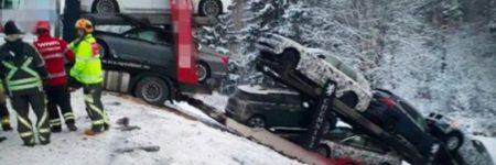 Suède : BMW perd 8 prototypes lors d'un accident de camion