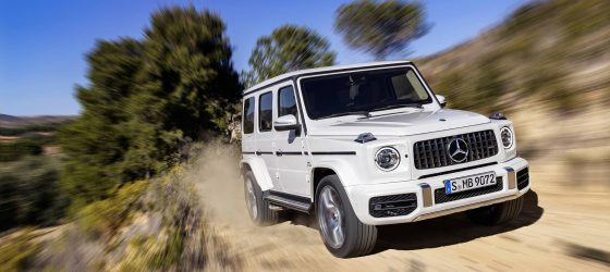 Mercedes-AMG G 63 Exterieur: designo mysticweiß bright, Exterieur-Edelstahl-Paket Kraftstoffverbrauch kombiniert: 13,2 l/100km; CO2-Emissionen kombiniert: 299 g/km // Mercedes-AMG G 63 Exterior: designo mysticwhite bright, Exterior-Stainless steel-Packet Fuel consumption combined: 13,2 l/100km; CO2-emissions combined: 299 g/km