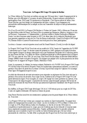 Tour Auto Peugeot 504 Coupé V6 Communiqué de presse