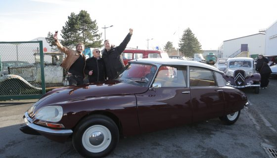 Trith-Saint-Léger, France - Tim Shaw and Fuzz Townshed pose with car owner Roger after it is revealed back to him in France. (photo credit: National Geographic/Stephen-Taylor Woodrow)