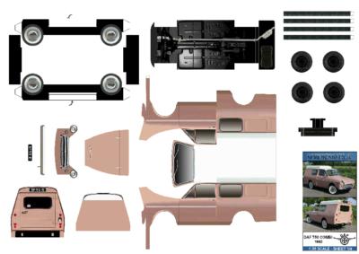 Maquette-papier-automobile-Daf 750 combi