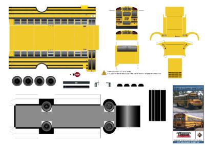 Maquette-papier-automobile-Kit-Schoolbus