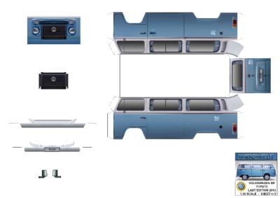 Maquette-papier-automobile-Volkswagen TYP2 T2 Brazilian Kombi Last Edition