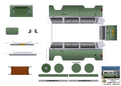 Maquette-papier-automobile-Vw T2 Danbury Camper