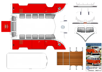 Maquette-papier-automobile-Vw bus DE LUXE SAMBA BUS