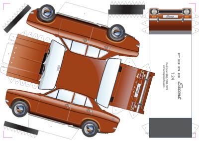 maquette papier Ford Escort Mk1 paper car