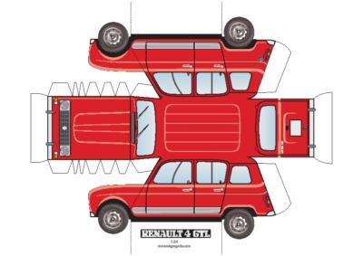 maquette papier Renault 4 GTL A4