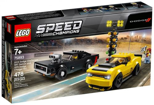 LEGO® Speed Champions 75893 Dodge Challenger SRT Demon 2018 et Dodge Charger R/T 1970