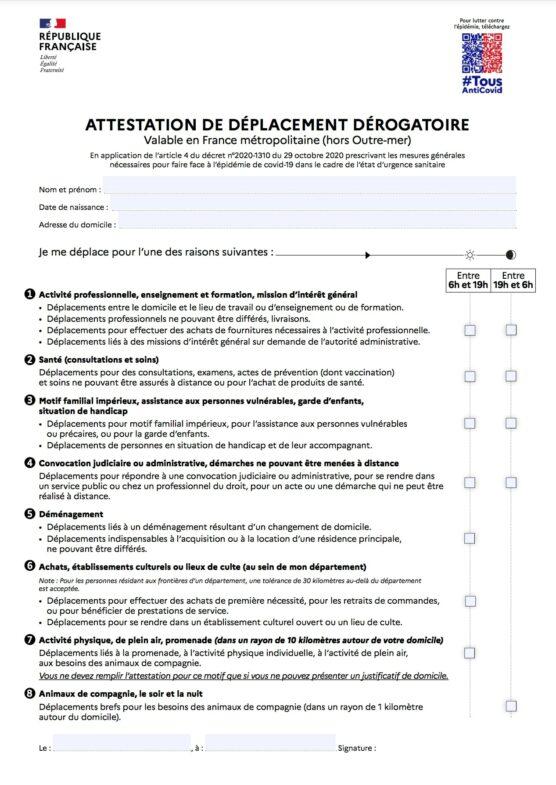 attestation de déplacement avril 2021 en ligne