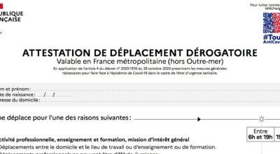 nouvelle attestation de déplacement dérogatoire en ligne