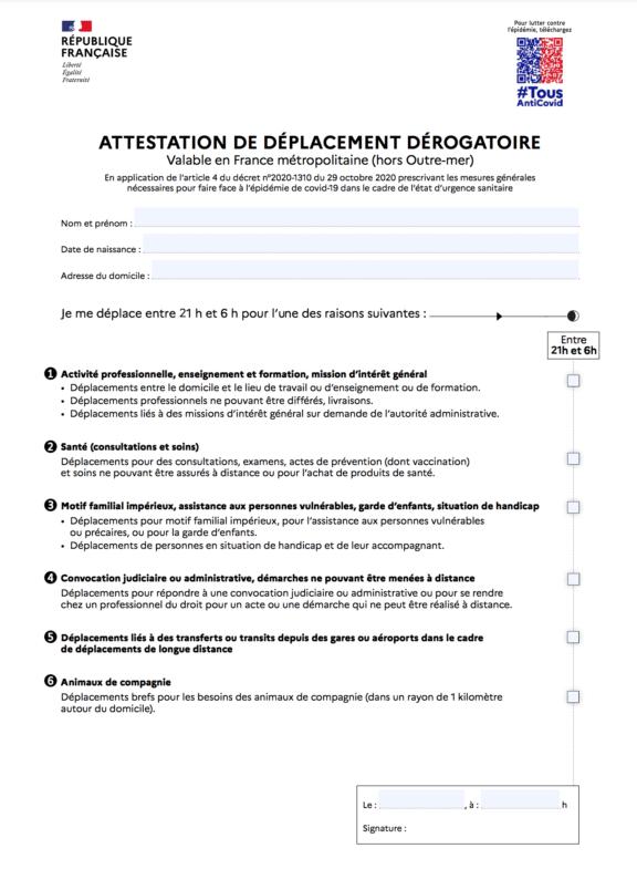 attestation de déplacement dérogatoire couvre-feu 21h mai 2021