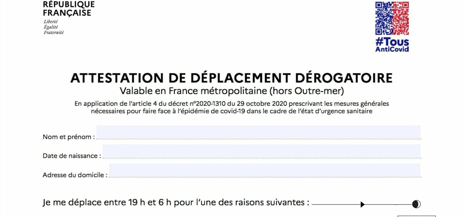 attestation de déplacement couvre feu mai 2021