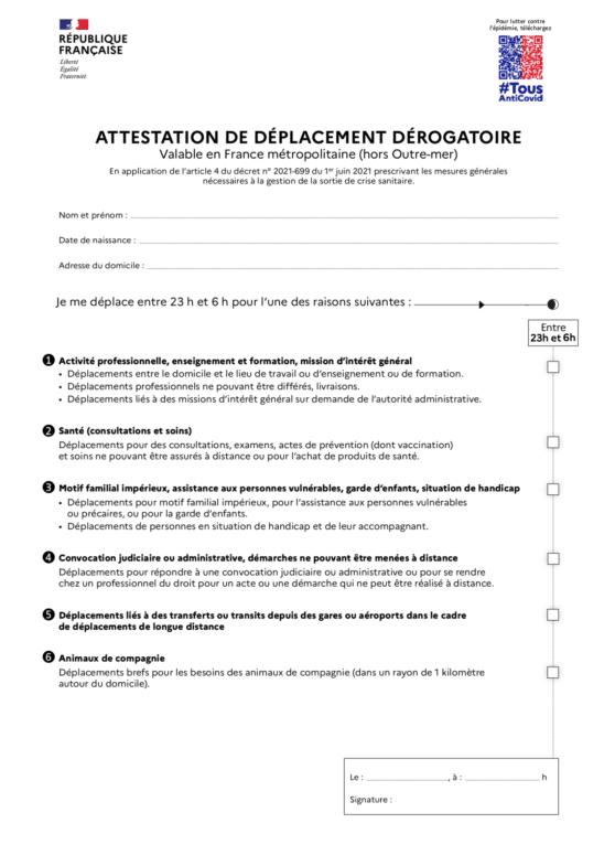 attestation de déplacement dérogatoire couvre feu 23h 9 juin 2021