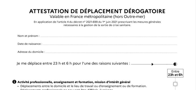couvre feu Jean Castex attestation de déplacement couvre-feu