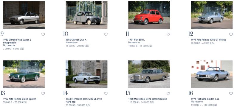 Automobiles sur les Champs Artcurial Motorcars vente aux enchères