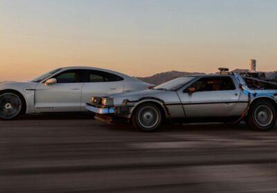 Porsche Taycan DeLorean DMC-12 Retour vers le futur